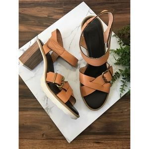 Hispanitad Gigi Brown Chunky Heel Strap Sandals